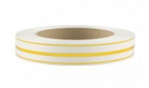 Лента глянцевая с золотой полосой 2 см (101 белый)