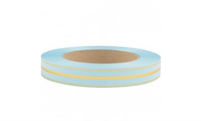 Лента глянцевая с золотой полосой 2 см (109 голубой)